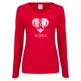 Ladies Red Long Sleeve V Neck Tee-Heart w Horse Shoes Distressed