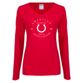 Ladies Red Long Sleeve V Neck Tee-Horse She Est Date