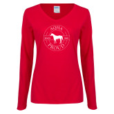 Ladies Red Long Sleeve V Neck Tee-AQHA Pround in Circle
