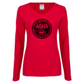 Ladies Red Long Sleeve V Neck Tee-AQHA in Circle Distressed