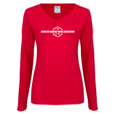 Ladies Red Long Sleeve V Neck Tee-Just a Girl Who Loves Horses