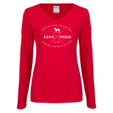 Ladies Red Long Sleeve V Neck Tee-AQHA Proud with Cross