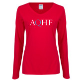 Ladies Red Long Sleeve V Neck Tee-AQHF