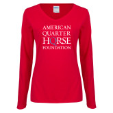 Ladies Red Long Sleeve V Neck Tee-American Quarter Horse Foundation