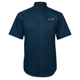 Navy Twill Button Down Short Sleeve-AQHF