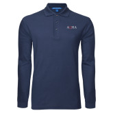 Navy Long Sleeve Polo-AQHA