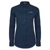 Ladies Navy Twill Button Down Long Sleeve-AQHF