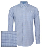 Mens Navy Plaid Pattern Long Sleeve Shirt-AQHF