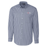 Cutter & Buck Navy Stretch Gingham Long Sleeve Shirt-AQHA