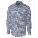 Cutter & Buck Navy Stretch Gingham Long Sleeve Shirt-AQHF