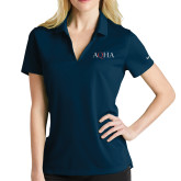 Ladies Nike Golf Dri Fit Navy Micro Pique Polo-AQHA