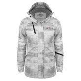 Ladies White Brushstroke Print Insulated Jacket-AQHA