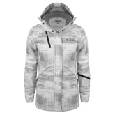 Ladies White Brushstroke Print Insulated Jacket-AQHF