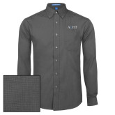 Mens Dark Charcoal Crosshatch Poplin Long Sleeve Shirt-AQHF