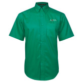 Kelly Green Twill Button Down Short Sleeve-AQHA