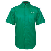Kelly Green Twill Button Down Short Sleeve-AQHF