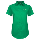 Ladies Kelly Green Twill Button Up Short Sleeve-AQHA