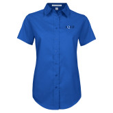 Ladies Royal Twill Button Up Short Sleeve-AQHF