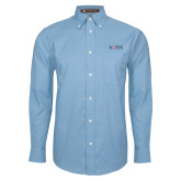 Mens Light Blue Oxford Long Sleeve Shirt-AQHA