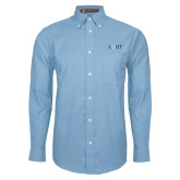Mens Light Blue Oxford Long Sleeve Shirt-AQHF