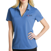Ladies Nike Golf Dri Fit Light Blue Micro Pique Polo-AQHA