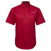 Red Twill Button Down Short Sleeve-AQHF