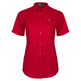 Ladies Red Twill Button Up Short Sleeve-AQHA