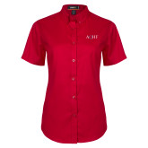 Ladies Red Twill Button Up Short Sleeve-AQHF