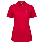 Ladies Easycare Red Pique Polo-AQHA