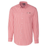 Cutter & Buck Cardinal Red Stretch Gingham Long Sleeve Shirt-AQHA