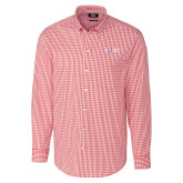 Cutter & Buck Cardinal Red Stretch Gingham Long Sleeve Shirt-AQHF