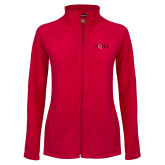 Ladies Fleece Full Zip Red Jacket-AQHA