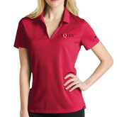 Ladies Nike Golf Dri Fit Red Micro Pique Polo-AQHA