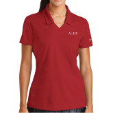Ladies Nike Golf Dri Fit Red Micro Pique Polo-AQHF