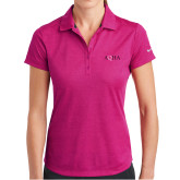 Ladies Nike Dri Fit Fuchsia Crosshatch Polo-AQHA