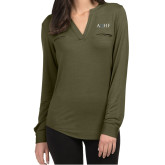 Ladies Lux Olive Green Split Neck Blouse-AQHF