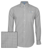 Mens Charcoal Plaid Pattern Long Sleeve Shirt-AQHF