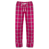 Ladies Dark Fuchsia/White Flannel Pajama Pant-AQHA