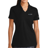 Ladies Nike Golf Dri Fit Black Micro Pique Polo-AQHF
