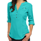 Ladies Glam Turquoise 3/4 Sleeve Blouse-AQHF