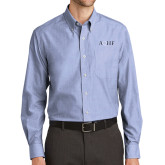 Mens Light Blue Crosshatch Poplin Long Sleeve Shirt-AQHF