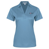 Ladies Light Blue Performance Fine Jacquard Polo-AQHA