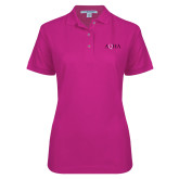 Ladies Easycare Tropical Pink Pique Polo-AQHA