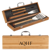 Grill Master 3pc Bamboo BBQ Set-AQHF Engraved