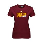 Ladies Maroon T Shirt-Fear The Spartans