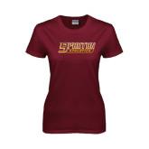 Ladies Maroon T Shirt-Spartan Athletics Word Mark