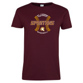 Ladies Maroon T Shirt-Spartans Baseball w/ Seams