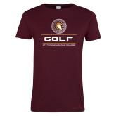 Ladies Maroon T Shirt-St. Thomas Aquinas Golf Stacked