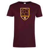 Ladies Maroon T Shirt-Spartans Soccer Shield