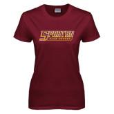 Ladies Maroon T Shirt-Club Hockey